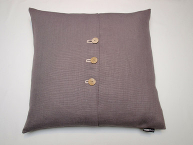 Beautiful Belgian linen in the smartest of Pepper grey tones.  Featuring 3 buttons in shades of sand to grey.  Chic and stylish for any home. Fabulous size of 50 x 50cm with feather filled insert.
