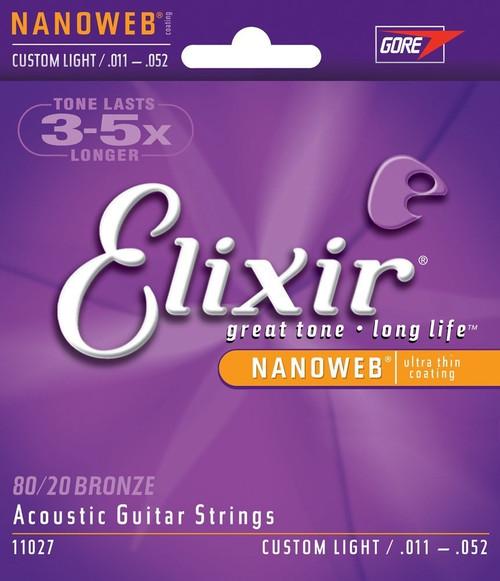 Elixir 11027 Custom Light Acoustic Strings .011-.052