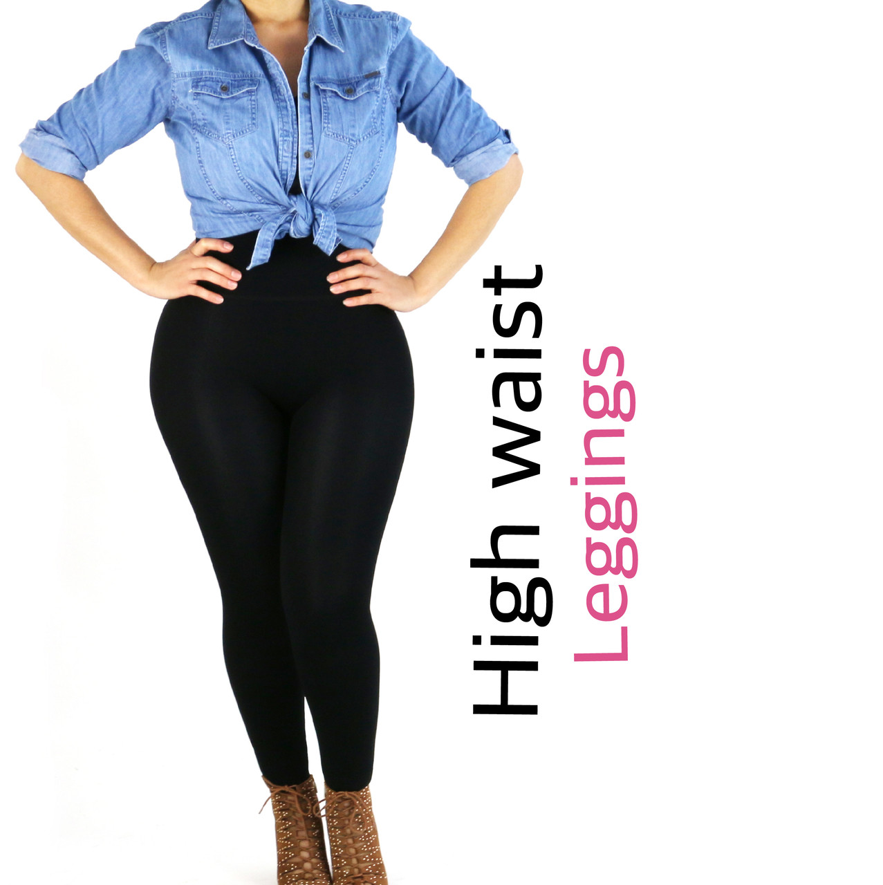 388a5ca89143b Instantly Thinner - Double Layer Waistband Leggings. Loading zoom