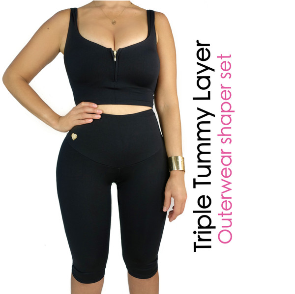 Triple Tummy Layer  Outerwear Shaper Set Black
