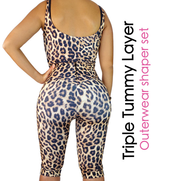 Triple Tummy Layer  Outerwear Shaper Set Leopard