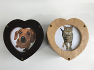 Mango Wood MDF Heart Shaped Urn with Photo - up to 18kgs