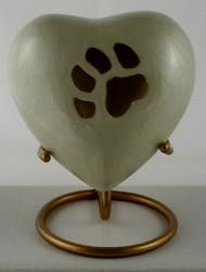 Pearl White Paw Print Heart Keepsake