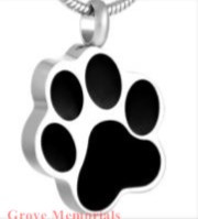 Black Paw Print Memorial Pendant