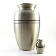 Classic Pewter Urn with Black Stripes