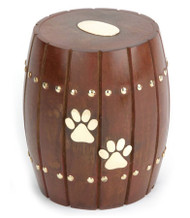 Solid Rosewood Barrel Pet Urn - up to 30 kgs