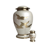 Pearl White Going Home Birds Urn