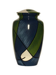 Abstract Blues/Greens Cremation Urn