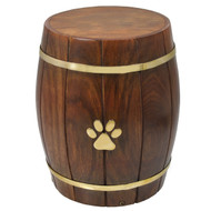 Solid Rosewood Barrel Pet Urn. - up to 30 kgs