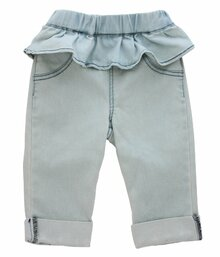 Curious Wonderland - Frill Rolled Cuff Shorts - Light Blue