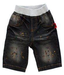 Curious Wonderland - Paint Splatter Denim Shorts - Dark Grey
