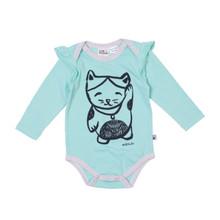 Milk & Masuki Long Sleeve Bodysuit  with Ruffle - Lucky Cat (LAST ONE LEFT - SIZE 1 YEAR)