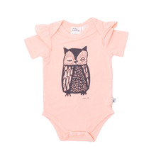 Milk & Masuki Short Sleeve Bodysuit with Ruffle - Owl