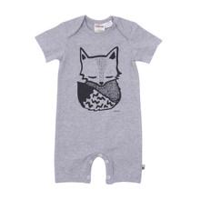 Milk & Masuki Short Sleeve Button All - Sleepy Fox (ONLY SIZE NB & 0-3M LEFT)