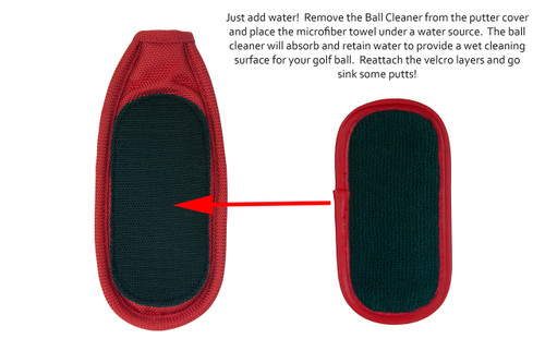 ReadyPutt Tri-Layer Ball Cleaner.  Built to retain water and remove debris from your ball.