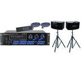 """VocoPro ASP-3808 II 300 Wattl Pro Digital Mixing Amplifier with VocoPro SV-500 10"""" 3-Way Vocal Speakers with Speaker Stands (SYS-VP-ASP-3808)"""