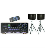 """VocoPro ASP-8909 360 W Prof. Digital Key Control Mixing Amplifier with SV-600 12"""" 2-way Vocal Speakers with Stands"""