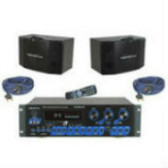 """VocoPro KRS-3 300 Watt Professional Digital Mixing Amplifier with 2- SV-500 10"""" 3 Way Vocal Speakers, and speaker cables"""