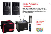VocoPro Jamcube 2 with recorder, VocoPro PV-802 400 watt Professional Karaoke Speakers, Two Wireless VocoPro microphones, carrying bag, and three (3) karaoke Cds from Grab Bag
