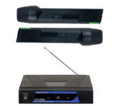 Want the freedom of wireless microphones but tight on a budget? The VHF-2000 is our answer for that. It is a dual handheld VHF microphone system with no frills and a plug-&-play design but whose price-tag is about the same as two wired mics. It's meant for those who want to show up, plug in, and get going with absolutely minimal set up. Each microphone is powered by a 9V battery and has a range of approximately 80ft, meaning you'll be singing for hours even in the back of the crowd. The VHF-2000 is the affordable option for those who want the freedom of wireless microphones without breaking the bank.