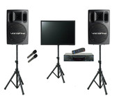 Karaoke Warehouse: Essentials Package, includes VocoPro DVX-890K Karaoke Player, VocoPro PV-802 Professional Powered Speakers with stands, Monitor with Stand