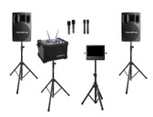 """Karaoke Warehouse: VocoPro JamCube Package, JamCube 2, includes Jamcube Karaoke Player with stand, VocoPro PV-802 Powered Speakers with stands, 10"""" monitor with stand"""