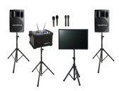 "Karaoke Warehouse: VocoPro JamCube PLUS Package, includes Jamcube Karaoke Player with stand, VocoPro PV-802 Powered Speakers with stands, Two Wireless Mics, 19"" monitor"