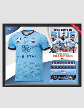 Sydney FC 18/19 Champions Team Signed Jersey Frame
