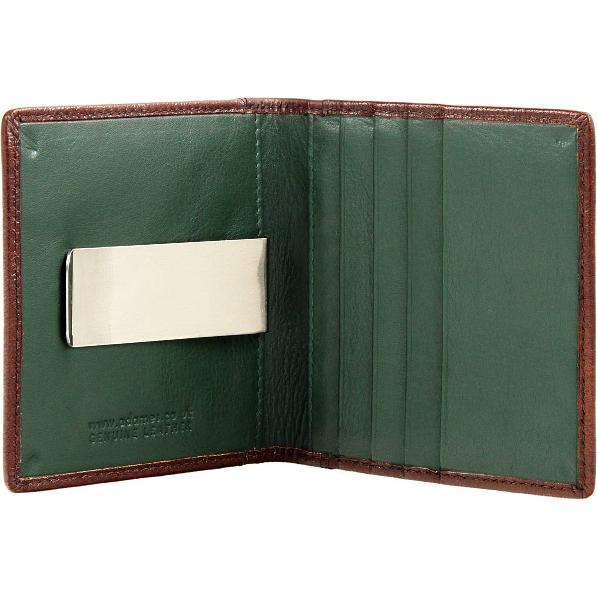 4335b085b736 Adames Money Clip Wallet with Oyster Card Holder: Brown/Green - adames