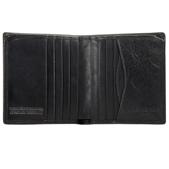 Tumble and Hide Italian Leather Small Wallet 2068 Black : Open