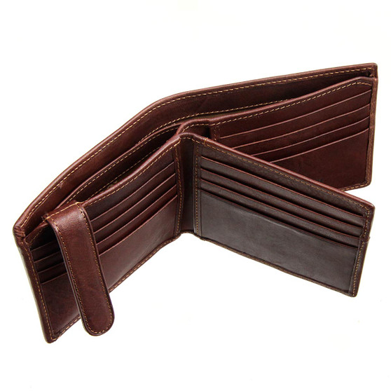 Tumble and Hide Italian Leather Wallet 2008 Brown : Open
