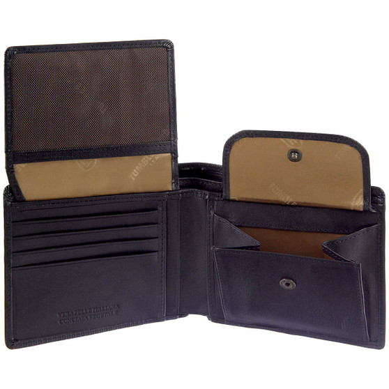 Tumble and Hide Italian Leather Wallet with Coin Pocket 2023 Black : Pockets