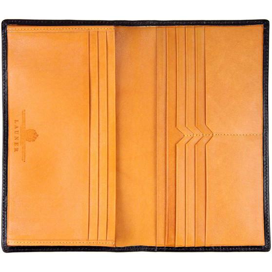 launer full size- acket pocket wallet 659 bridle leather - black tan open