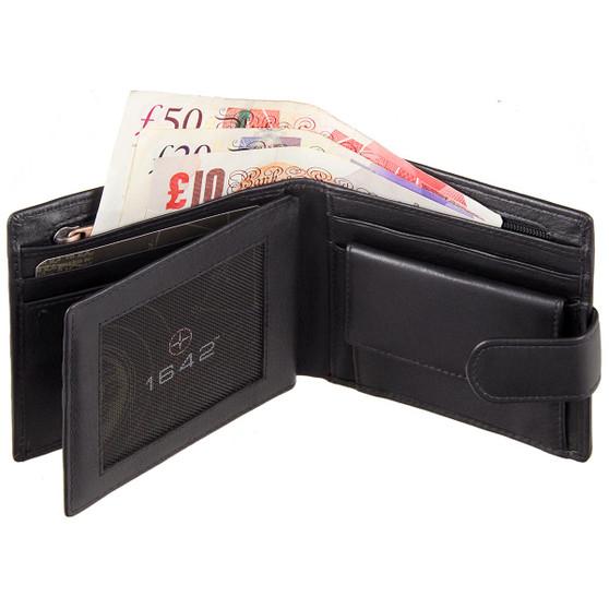 1642 by Lichfield Leather 2032 Wallet Black Open