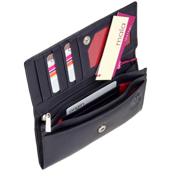 Mala Leather Origin Purse with RFID Shielding: 3272 Navy Inner