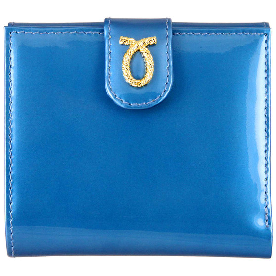 Launer small rope logo purse 685 ice blue patent front