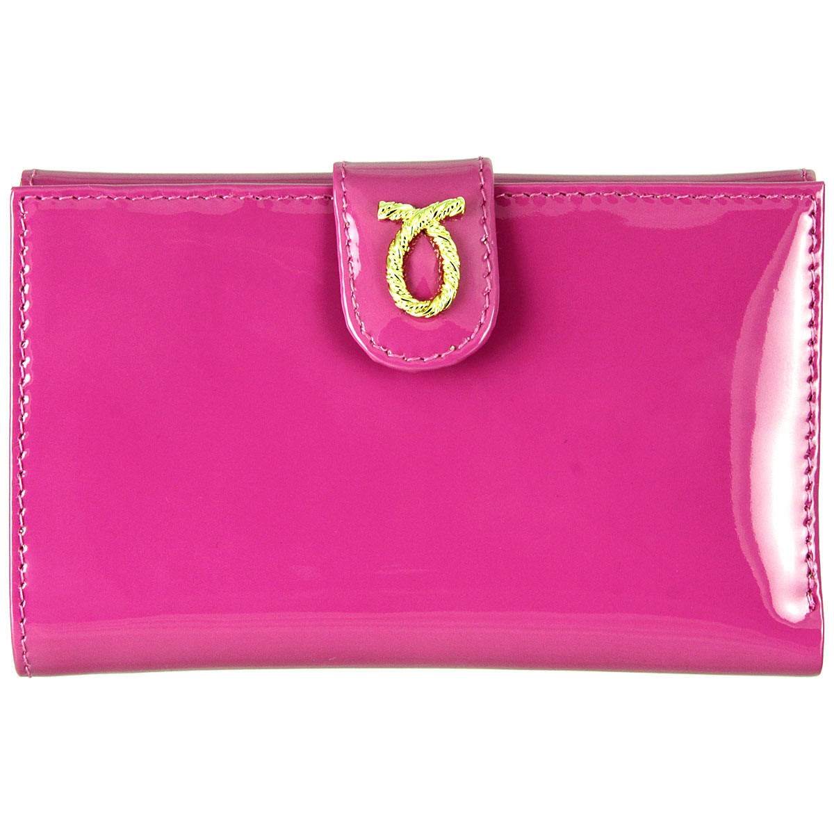 Launer 686 medium rope logo patent leather purse pink front 44be8dd82553d