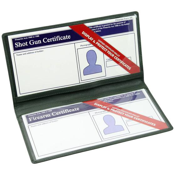 Double Shot Gun & Firearm Certificate Wallet Green : Open
