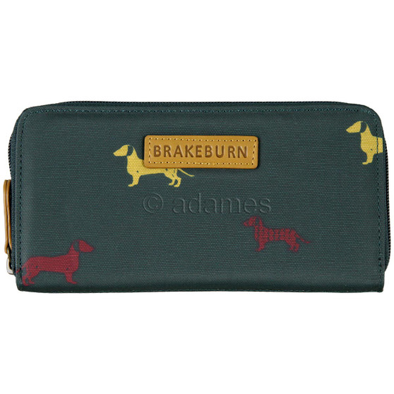 Brakeburn Sausage Dog Zip Round Purse Green: Front