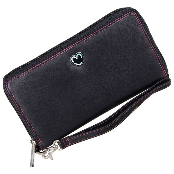 Zip Around Purse RFID Protection Mala Leather Tabitha 3276 Black: Front