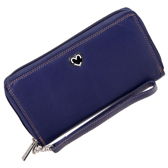Zip Around Purse RFID Protection Mala Leather Tabitha 3276 Navy: Front