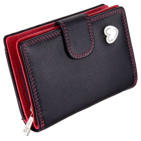 Waller Purse with RFID Protection Tabitha by Mala Leather 3188 Black : Front