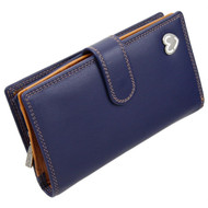 Zip and Tab Large Purse with RFID Protection  by Mala: Tabitha 3178 Navy: Angle