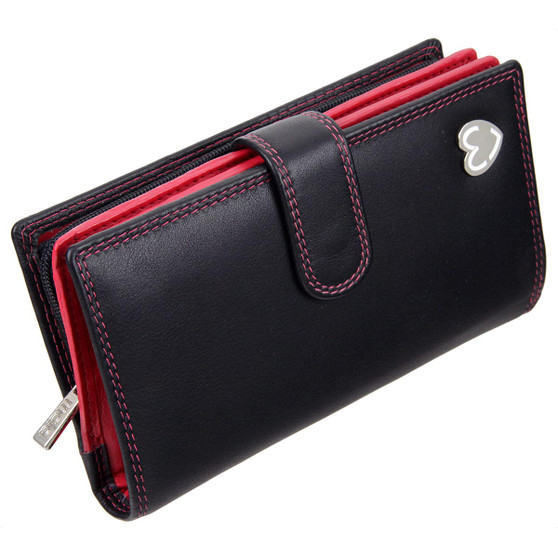 Zip and Tab Large Purse with RFID Protection  by Mala: Tabitha 3178 Black: Angle