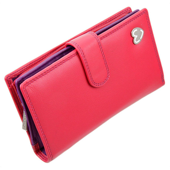 Zip and Tab Large Purse with RFID Protection  by Mala: Tabitha 3178 Pink: Angle