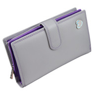 Zip and Tab Large Purse with RFID Protection  by Mala: Tabitha 3178 Grey: Angle