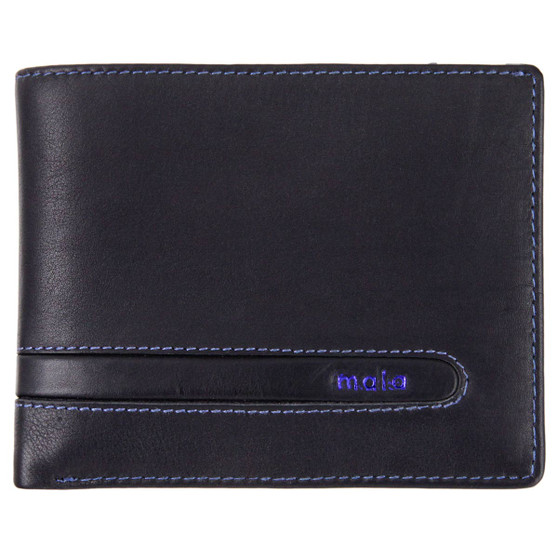 Leather wallet with coin-pocket axis-165 black-blue : front