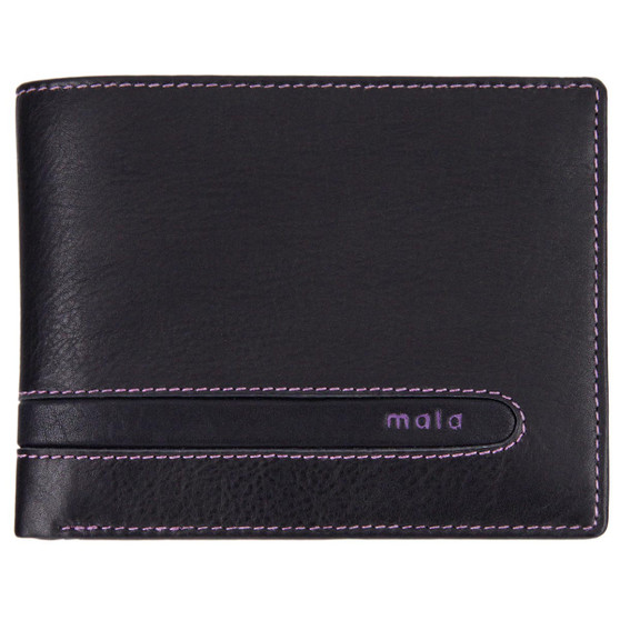 Leather wallet with coin-pocket axis-165 black-purple : front