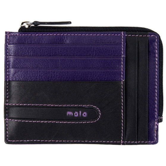 Zipped Leather Card Holder by Mala Axis: 613 Black/Purple - Front