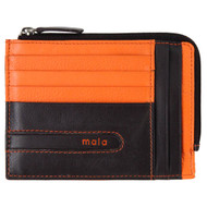Zipped Leather Card Holder by Mala Axis: 613 Brown/Amber - Front
